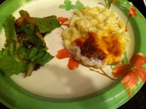 Mac 'n' cheese with roasted beet salad.