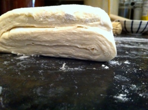Puff pastry layers in side view.