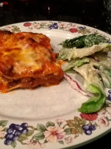 Lasagna and caesar's salad.