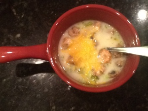 Broccoli and mushroom soup with cheddar.