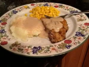 CFS with mashed potatoes and country gravy.
