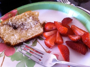 Coffee cake and berries for breakfast.