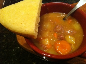 Beef stew and fresh bread.